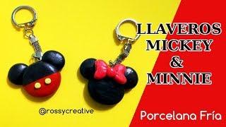 Llaveros Mickey &amp Minnie porcelana fría pasta flexible