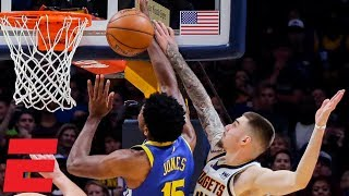 Nuggets' game-winning block on Warriors seals win in Denver 100-98 | NBA Highlights