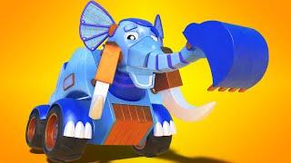 АнимаКары - Лучшие мультфильмы cо СЛОНОМ ЭКСКАВАТОРОМ - мультфильмы для детей с машинами и животными