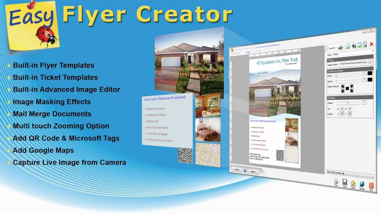 Easy flyer creator 3 0 presentation youtube for Free online brochure maker template