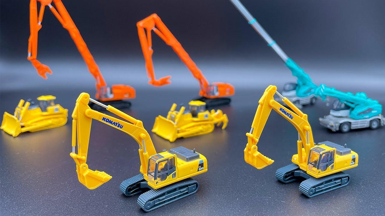 昔の建設機械コレクションvol1!コマツ油圧ショベル、コマツブルドーザ、日立解体仕様機、コベルコホイールクレーンなどの重機の情景をラインナップ!