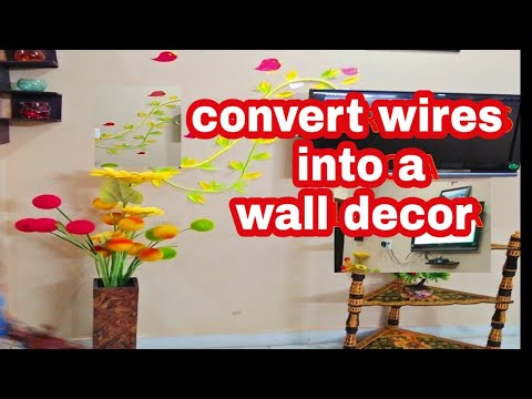 how to hide wires and convert it into wall sticker | DIY wall decor | DIY wall sticker