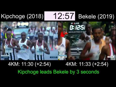 FULL RACE - Kipchoge 2:01:39 Vs Bekele 2:01:41 At The Berlin Marathon [side By Side Comparison]