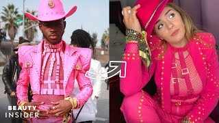 Lil nas x stunned the 2020 grammy awards red carpet in a fuchsia leather suit custom-made by versace. cowboy look was embellished with gold jewelry, le...