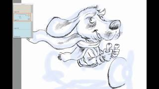 Drawing Tutorial: A funny cartoon dog in an airplane - how to draw comics in Sketch Book Pro