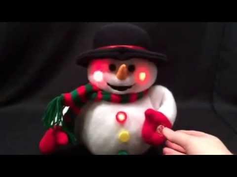 Snowman Stuffed Animal Plays Music Plush Lights Up