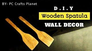 Wooden spatula wall decor DIY| Wall hanging craft ideas| Wall decoration ideas| DIY wall decor