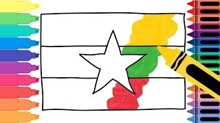 How to Draw Myanmar Flag - Drawing the Myanmar Flag - Coloring Pages for kids | Tanimated Toys