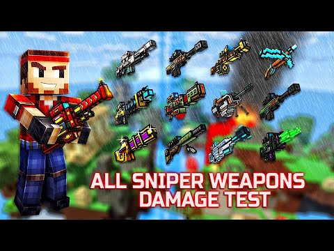 Pixel Gun 3D - ALL Sniper Weapons Shots Damage + Reloading Animations