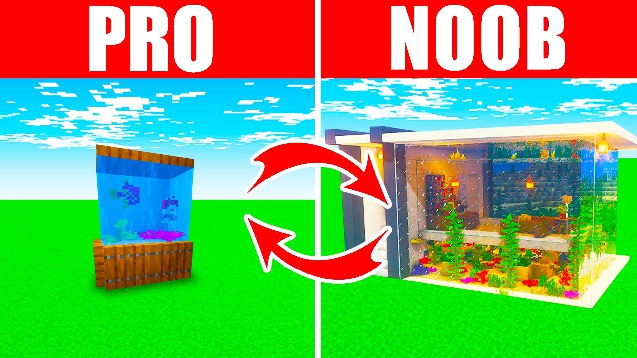 Minecraft NOOB vs. PRO: SWAPPED AQUARIUM BUILD in Minecraft (Compilation)
