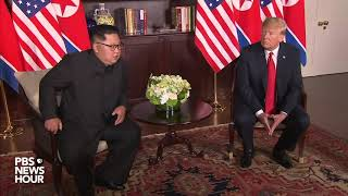 President Trump and Kim Jong Un speak to press after their handshake