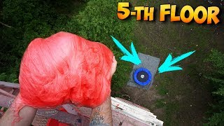 DROPPING 10 KILOGRAM FLUFFY SLIME FROM THE 40TY METER TOWER ON THE TRAMPOLINE!!!