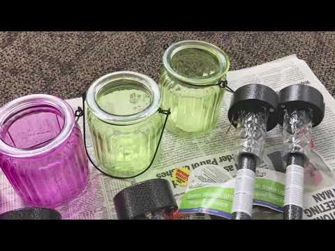 DIY solar lights for outdoor (dollar tree)