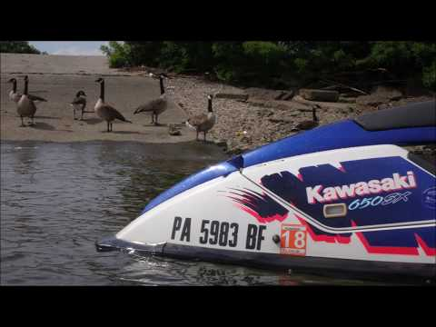 07-15-17 Kawasaki 1993 Standup jet ski 650sx 15th ride 2017 on the Delaware River Philadelphia Pa