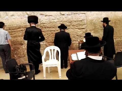 The Western Wall (Wailing Wall) - An Orthodox Jewish Prayer. Jerusalem. Israel