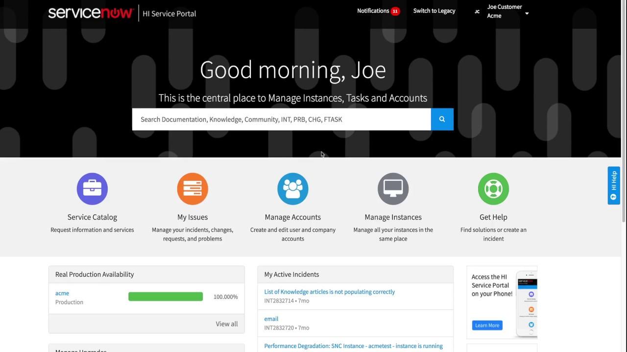 ServiceNow HI Service Portal