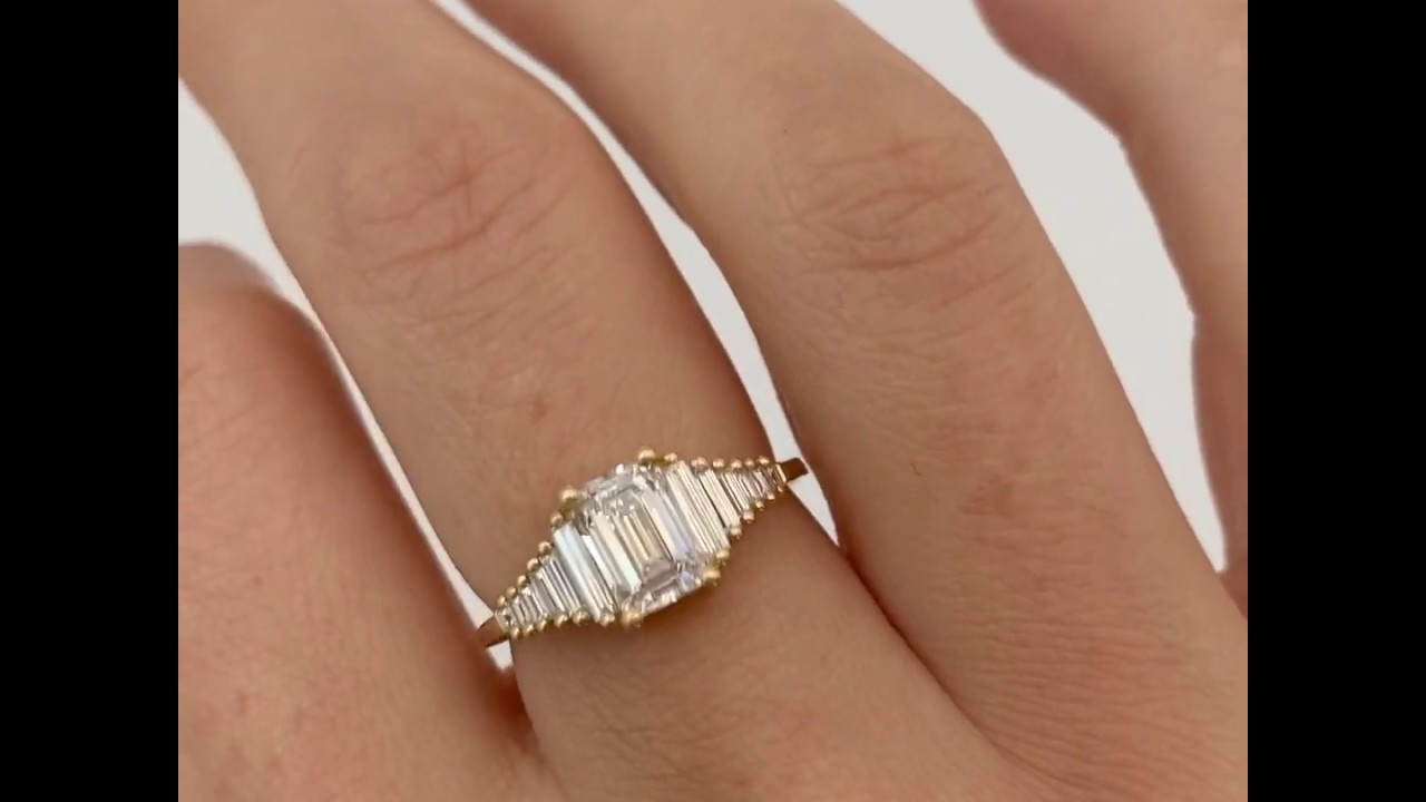 Classic Emerald Cut Engagement Ring With Tapered Needle Baguette Diamonds Youtube