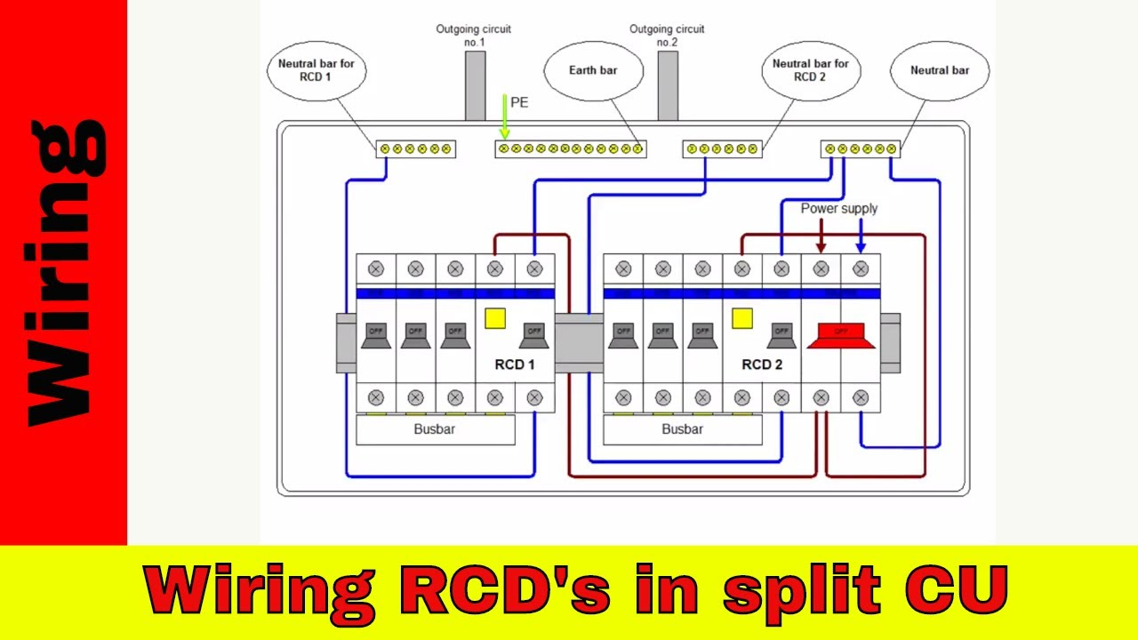 Wiring Diagram For A Shower Rcd : How to wire split consumer unit rcd wiring youtube