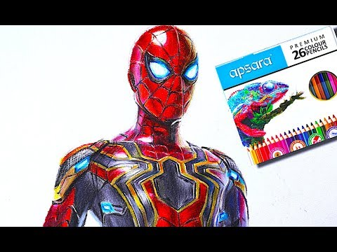 drawing-spider-man-iron-suit-realistic-using-cheap-color-pencil-(-far-from-home)