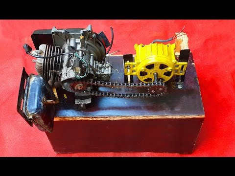 Homemade Dynamo Generator 220v Attached To Two Stroke