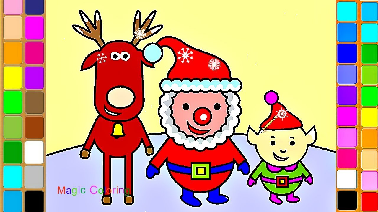 santa rudolf and elf christmas magic drawing and coloring videos for kids