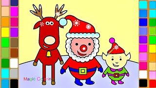 Santa, Rudolf and Elf - Christmas Magic Drawing and Coloring Videos for Kids