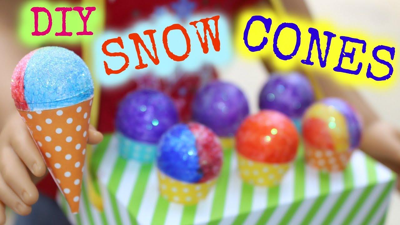 Diy american girl doll snow cones youtube for American girl crafts diy