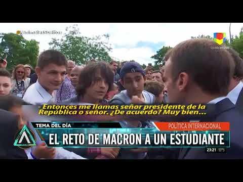 Macron retó a un joven que le dijo Manu y le pidió que lo llamara señor presidente