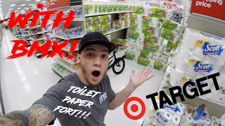TOILET PAPER FORT IN TARGET! *SMASHED WITH BMX*