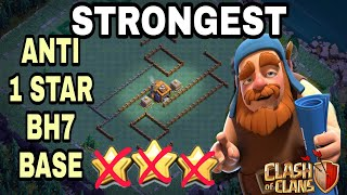 STRONGEST Anti 1 Star BH7 Base w/PROOF | Anti All Troops | Clash of Clans