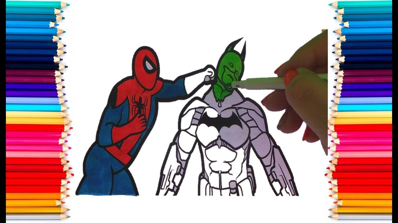 spiderman and batman colouring book coloring pages kids fun art