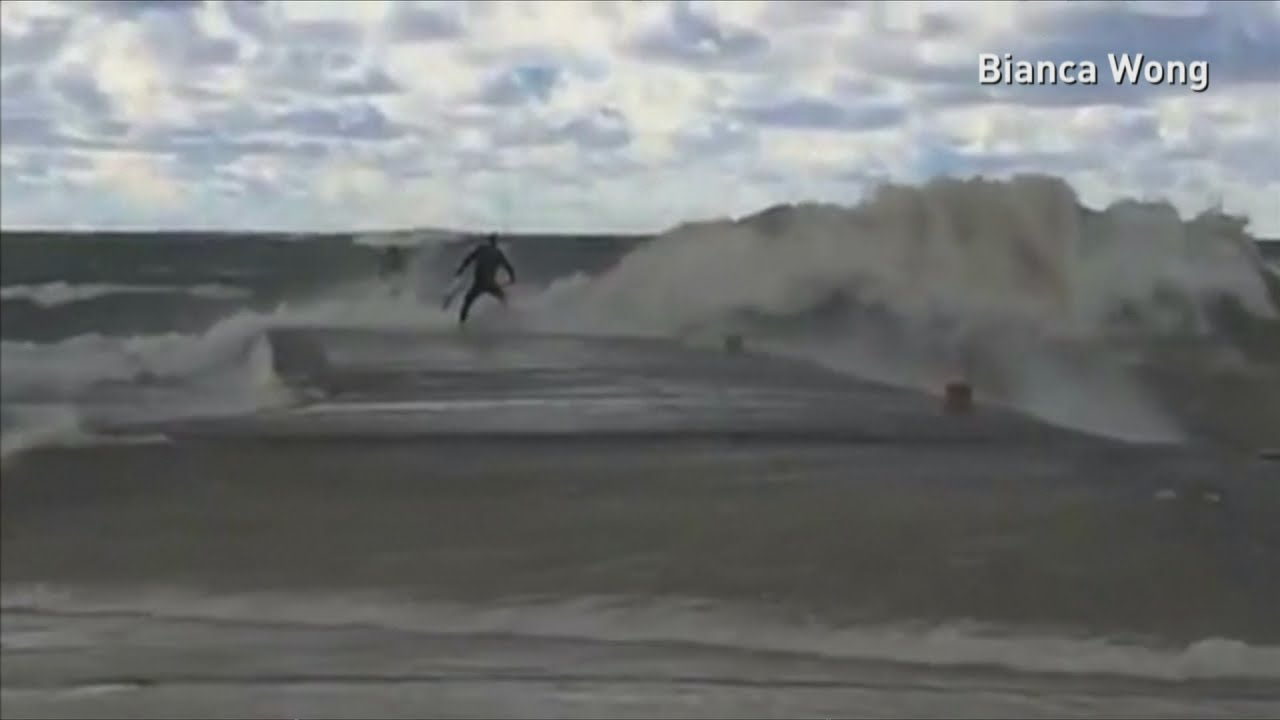 Surfers struggle with huge waves at lake huron youtube sciox Gallery
