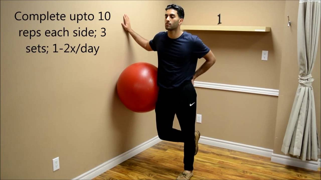 Gluteus Medius Ball on Wall Exercise - YouTube