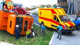 BRUDER TRUCKS MAN Garbage FAIL CRASH! Rescue mission! New RC AMBULANCE