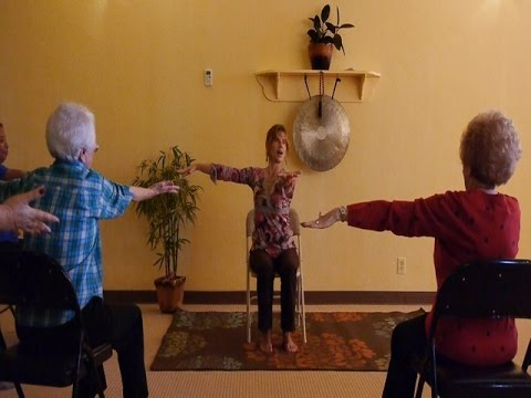 easy yoga for beginners  lively chair yoga class with