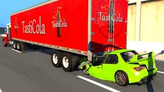 Semi Truck Trailer Rear Ended by Cars - BeamNG DRIVE
