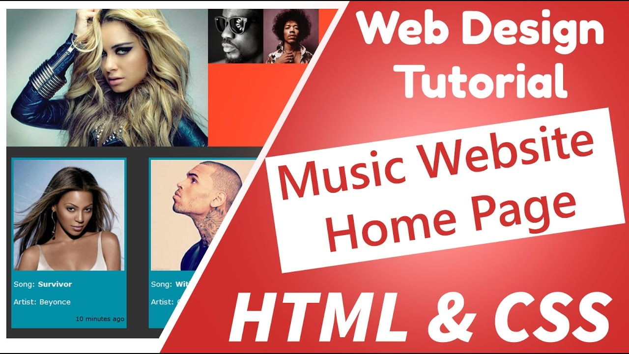 04 - Web Design - Create a cool music website home page using notepad, html and css