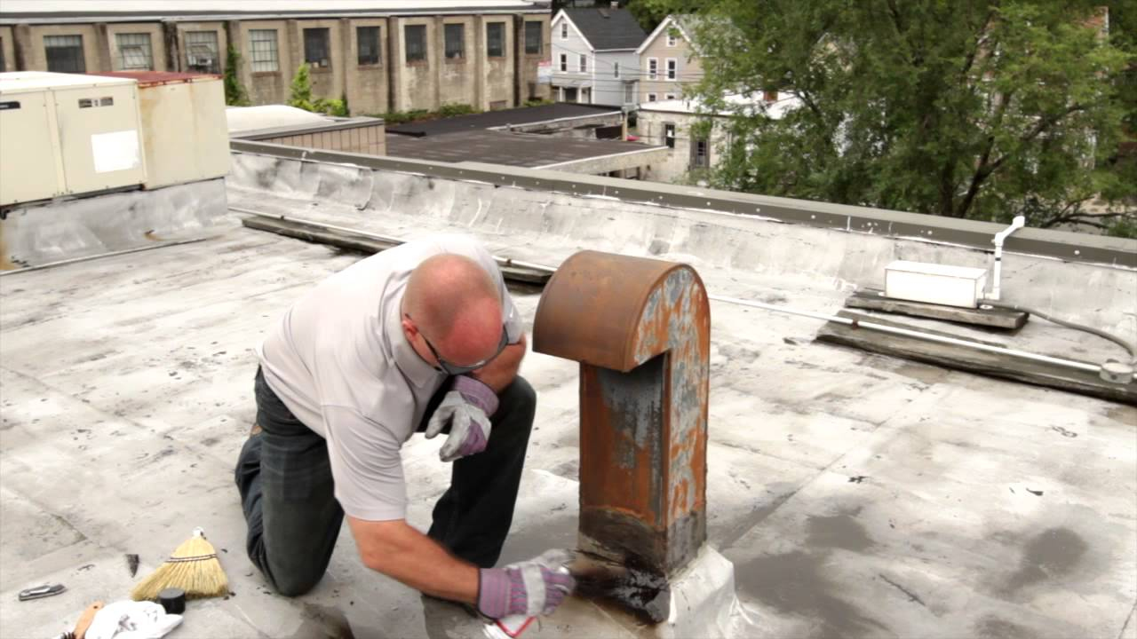Roof Protrusion Repair Surface Preparation with Karnak 108 Asphalt Spray  Primer Step 1 of 2