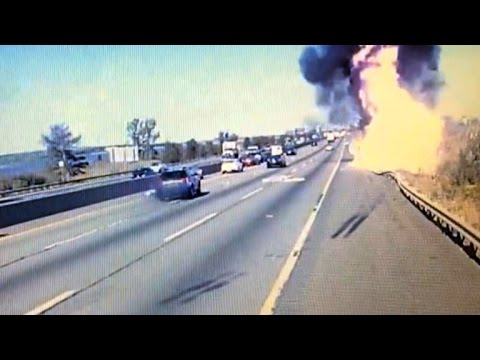 Truck Driver Dies in Fiery Crash Trying To Avoid Falling Mattress