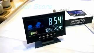 Desktop Clock Calendar  LED Colors Screen With Humidity - Temperature & Alarm