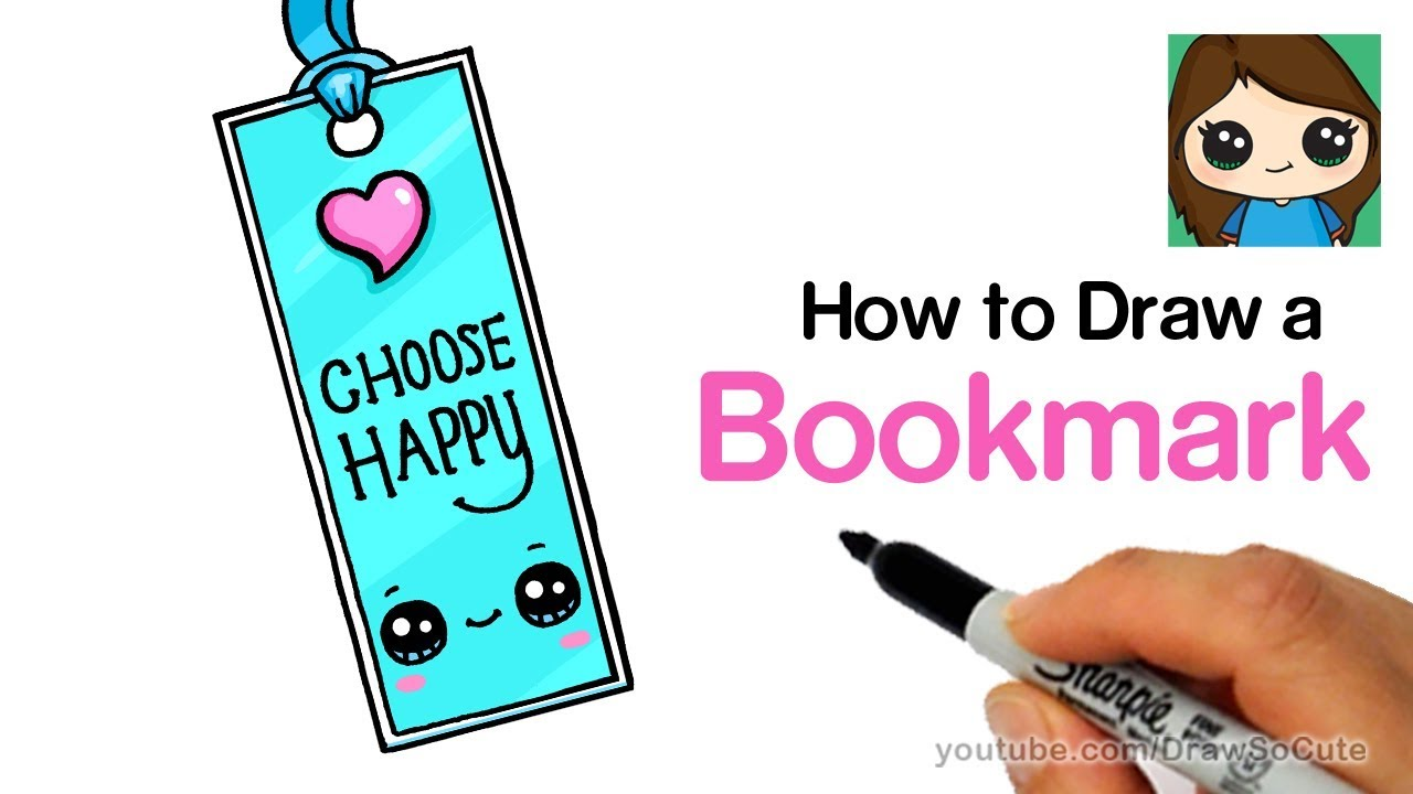 Cute Book Cover Drawing : How to draw a bookmark easy cute back school supplies