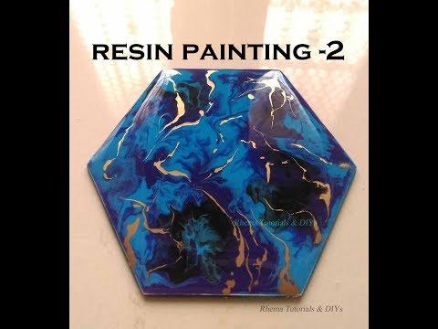 Resin Painting 2 - Resin on Wood Coaster- Epoxy resin Coaster - resin art Clock