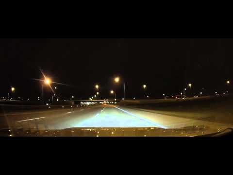 Driving on Alberta Highway 2 at night into Calgary Canada
