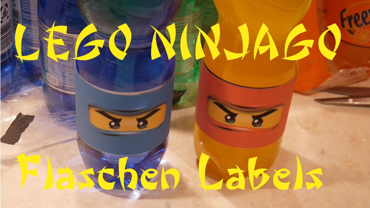 Flaschen lable f r lego ninjago party bottle lable for Ninjago zimmer deko
