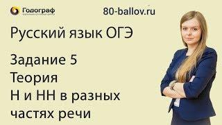 Русский язык ОГЭ 2019. Задание 5. Теория. Н и НН в разных частях речи