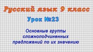Русский язык 9 класс (Урок№23 - Основные группы сложноподчиненных предложений по их значению.)