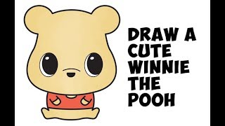 How to Draw Winnie the Pooh (cute / chibi / kawaii) with easy step by step drawing for kids