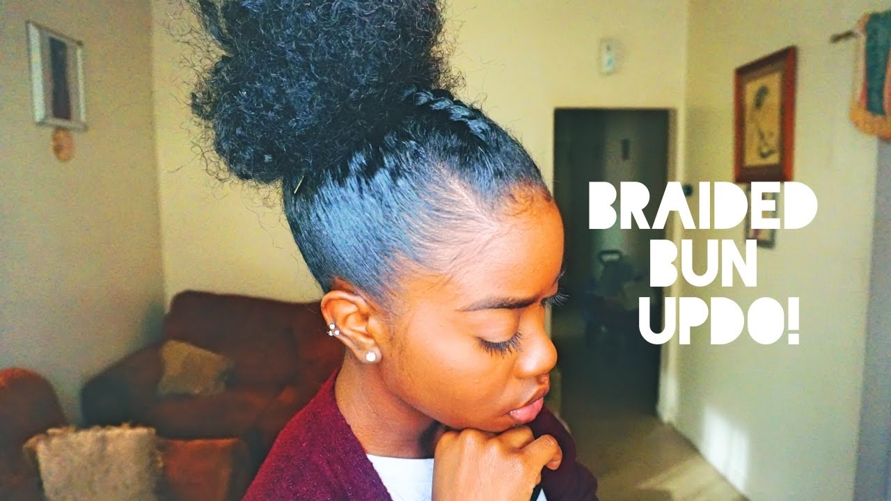 Natural Hair Braided Bun Updo
