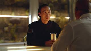 AGENT REVELATION MOVIE CLIP MICHAEL DORN(STAR TREK) DEREK TING COFFEE