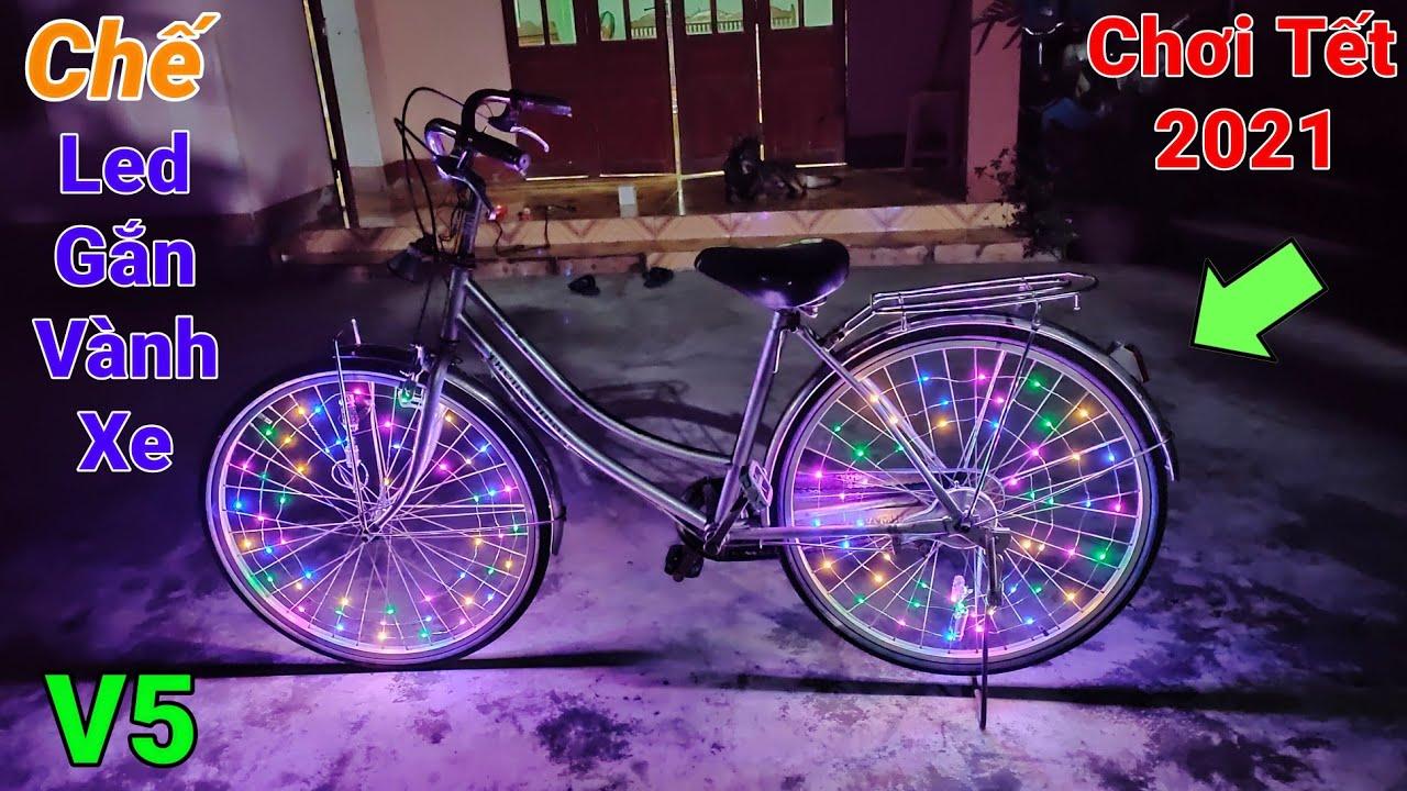 Chế đèn led gắn vành xe đạp V5
